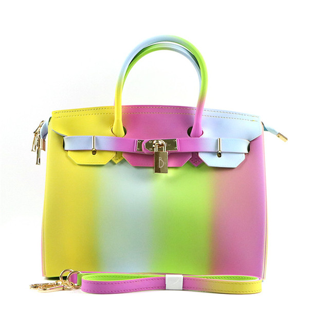 08b56975c0 Jellyooy Zipper Colorful Stripe 30cm Large Size luxury handbags ...