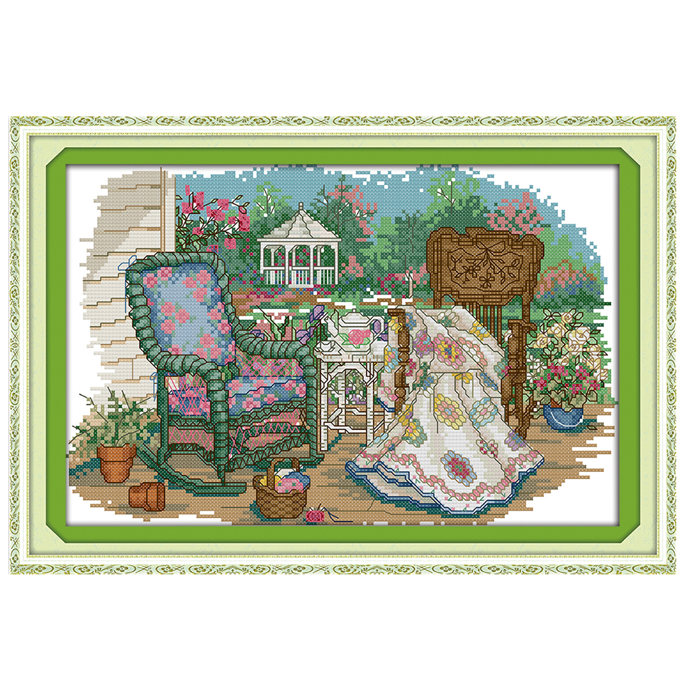DIY hand embroidery cross stitch suit embroidery set 11CT printing grandmothers wicker c ...
