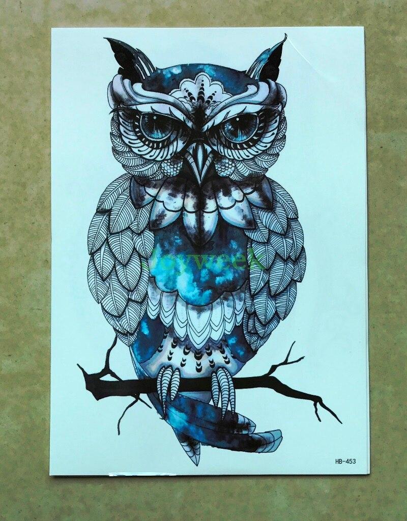 Temporary Tattoo Sticker Large Size Body Art Sketch Flower: Waterproof Temporary Tattoo Sticker Large Size Owl Tatto