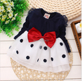 Baby girl dress,New 2016,dresses for girls,bebe,newborn,children girls bowknot long-sleeved princess dress,baby girl clothes
