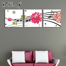FULLCANG diy 5d diamond embroidery music flower triptych painting 3 piece full square/round drill mosaic pattern decor FC655