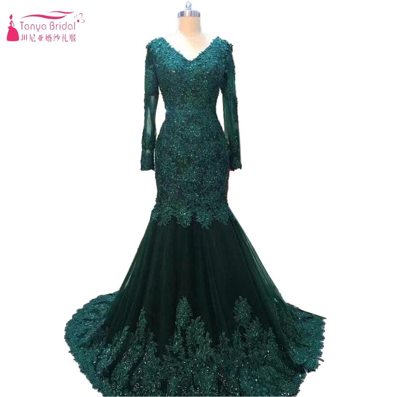 Dark Green Lace Mermaid Evening Dresses V-Neck Long sleeve Muslim ...
