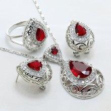Mujeres Regalos de navidad Rojo Forma de La Gota Cristalino De Los Pendientes/Collar/ANILLO 925 Joyería Plateada de Plata Marca Sets-S185