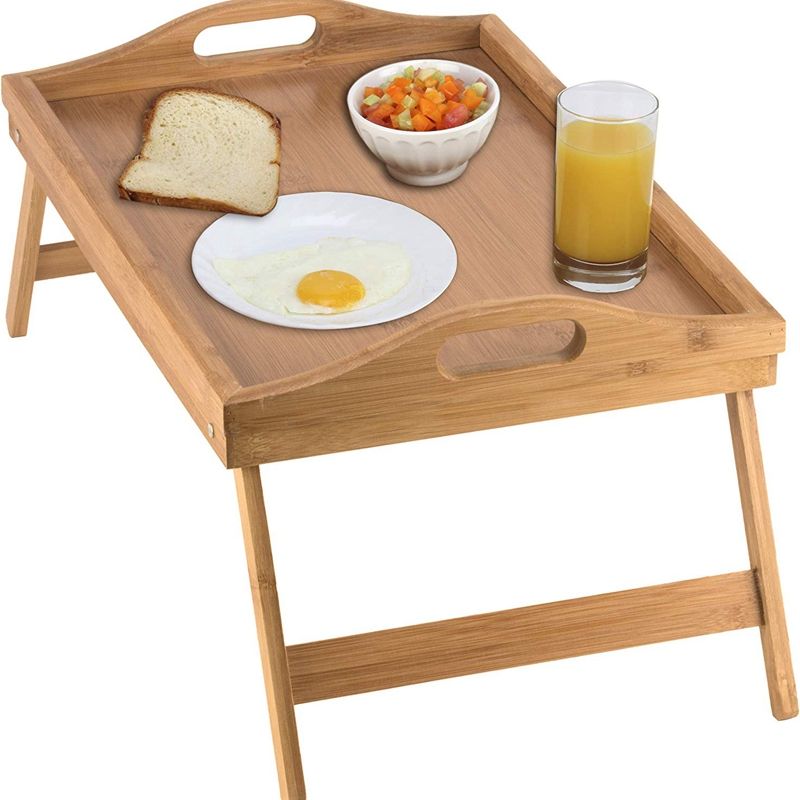 ABLA Portable Folding Table Bed Tray Table With Folding Legs And Breakfast Tray Bamboo Bed Table And Bed Tray With Legs