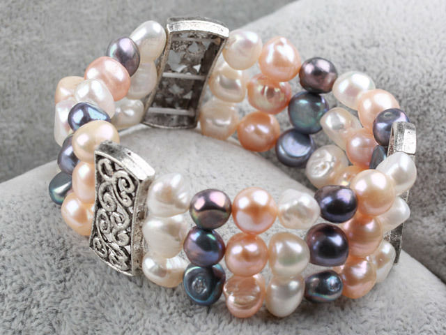 Details about Classic Design Three Strands White Black Pink Freshwater Pearl Bangle Bracelet