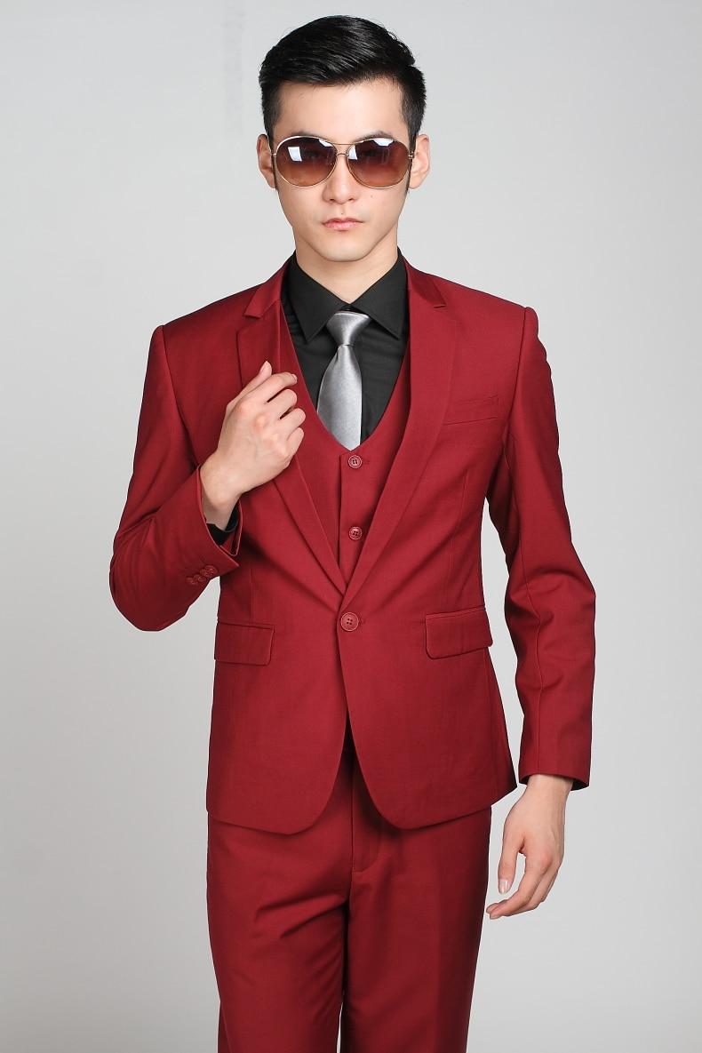 ba9f11ea7a (Jacket + Pants + Tie) Vino Maduro Rojo Hombres trajes Slim Fit Esmoquin de  La Boda Formal Del Partido de Cena de Negocios Casual Blazer Clásico en  Trajes ...