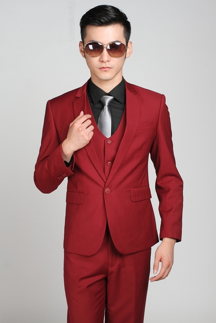 Slim Fit Jacket Red Mature Tuxedos Wedding Men Pants suits Tie Wine 80rx0ZI