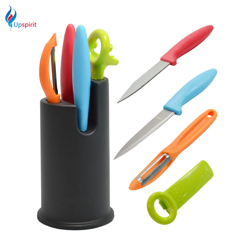 Hot Sale Professional Stainless Steel Kitchen Chef Knife Set 5pcs Japanese Chef Knives Set Rainbow Knife With Holder For Knives