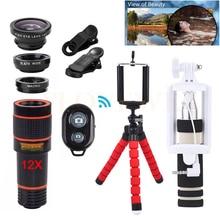 Lentes de cámara del teléfono kit clips 12x teleobjetivo zoom lentes + trípode + gran angular macro ojo de pez 12in1 lente para celular teléfono iphone 6 s 7