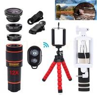 Phone Camera Lenses Kit 12X Telephoto Zoom Lentes Tripod Clips Wide Angle Macro Fisheye 12in1 Lens