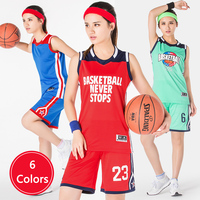 Newest Women's Basketball Jersey Team Sports Uniform Shirt + Short Breathable High quality 6 Colors Custom Name Number