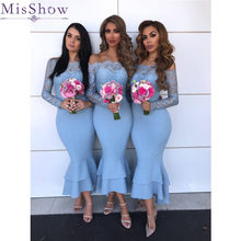 [Custom-made] Blue Mermaid Bridesmaid Dress Long 2019 Long Sleeves Satin Lace Wedding Guest Maid Of Honor Dress Party Women robe(China)