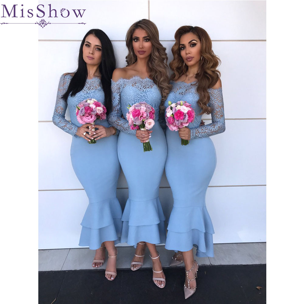 [Custom-made] Blue Mermaid   Bridesmaid     Dress   Long 2019 Long Sleeves Satin Lace Wedding Guest Maid Of Honor   Dress   Party Women robe