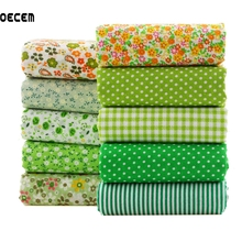 Floral Patchwork Fabrics Green Cotton Fat Quilting Sewing Tissue For Tildas Doll Dress DIY Crafts 10pcs/lot 50*50cm