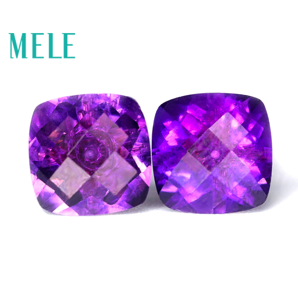 Natural Amethyst earrings stud for women and girl 18k Gold square cut fashion and simple new