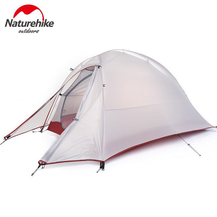 Naturehike 4 Season Ultra-light Aluminum Double-layer Waterproof Tent Outdoor Camping One Person Tent naturehike 3 person camping tent 20d 210t fabric waterproof double layer one bedroom 3 season aluminum rod outdoor camp tent