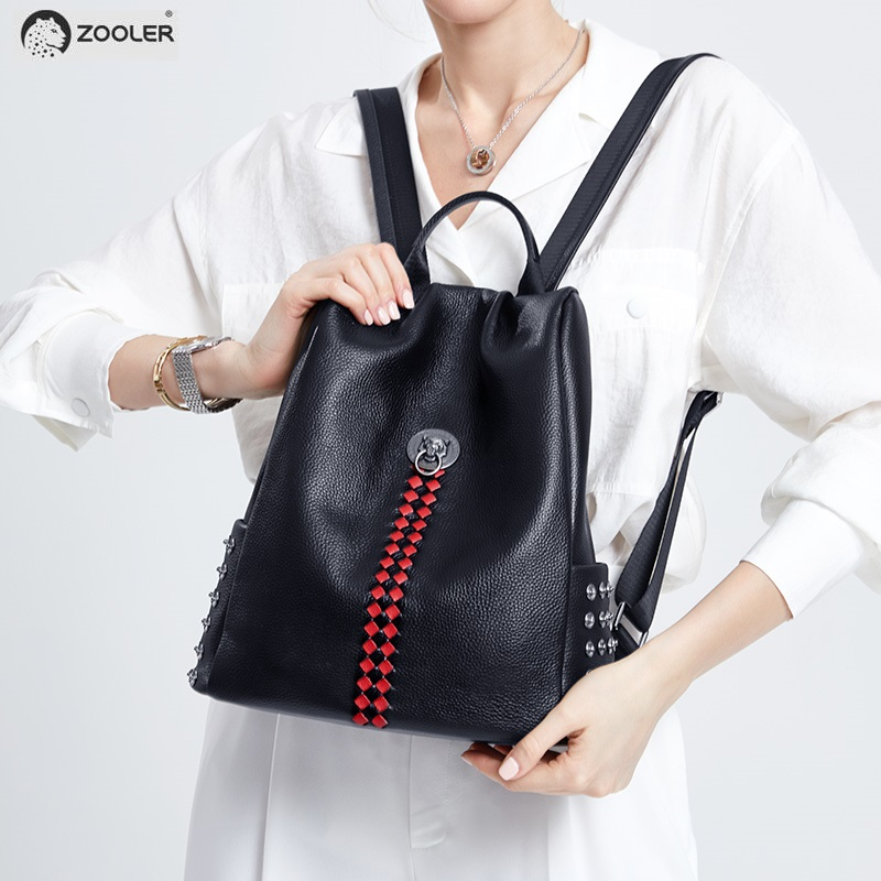 ZOOLER Woman Backpack real Genuine Leather backpacks Anti-theft Black Zipper Ipad Phone Pocket bag Business Travel Mochila#lt211