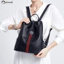 ZOOLER Woman Backpack real Genuine Leather backpacks Anti-theft Black Zipper Ipad Phone Pocket bag Business Travel Mochila#lt211