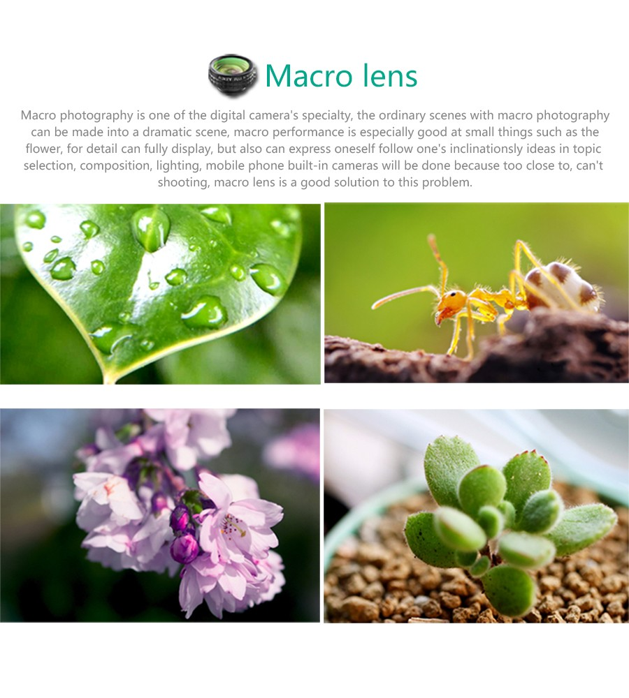 AUKEY Fish eye Lens 3in 1 Clip-on Cell Phone Camera 180 Degree Fisheye Lens+Wide Angle+Macro Lens for iPhone 7Plus Xiaomi & More 5