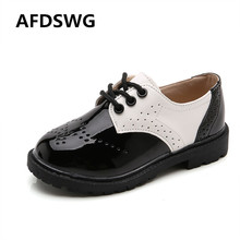 AFDSWG spring and autumn white leather waterproof soft bottom girl shoes black boys children
