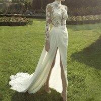 Кружевной Лиф Свадебное платье es Винтаж Vestido De Noiva одежда с длинным рукавом свадебные платья Разделение цвета слоновой кости свадебное плат