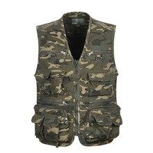 Waistcoat Fishing-Vest Multi-Pocket Outdoor-Game Recreational Camouflage Cargo Men 1pcs