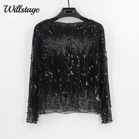 Willstage Sequins Tops Women T shirt Long Sleeve Mesh Sexy Shirt Pearl embroidery Tee Gold Silver Bling Party blusa 2018 Spring