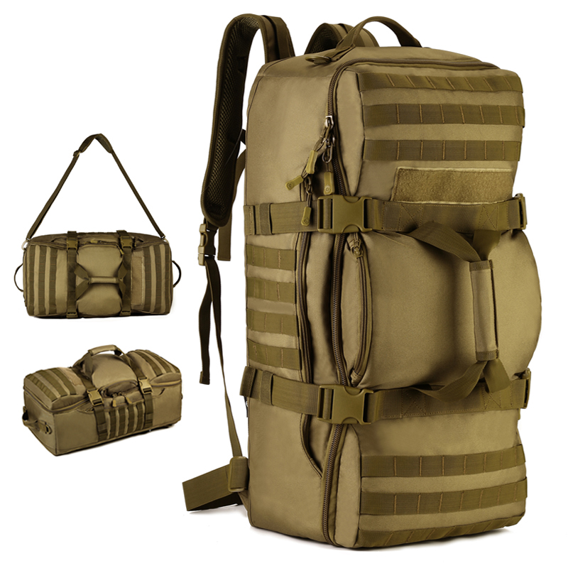 Multi-purpose outdoor Backpack 60L High capacity Nylon Camo Tactics MOLLE Bags Hiking Climber Travel Camping oumily reflective multi purpose paracord nylon rope cord reflective grey 30m 140kg