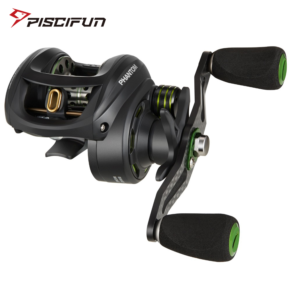 Piscifun Phantom Baitcasting Reel Fishing Tackle 7.0:1 Gear Ratio 7.7kg Max Drag 7 Bearings Dual Brake Ultralight Carbon Fiber-in Fishing Reels from Sports & Entertainment    1