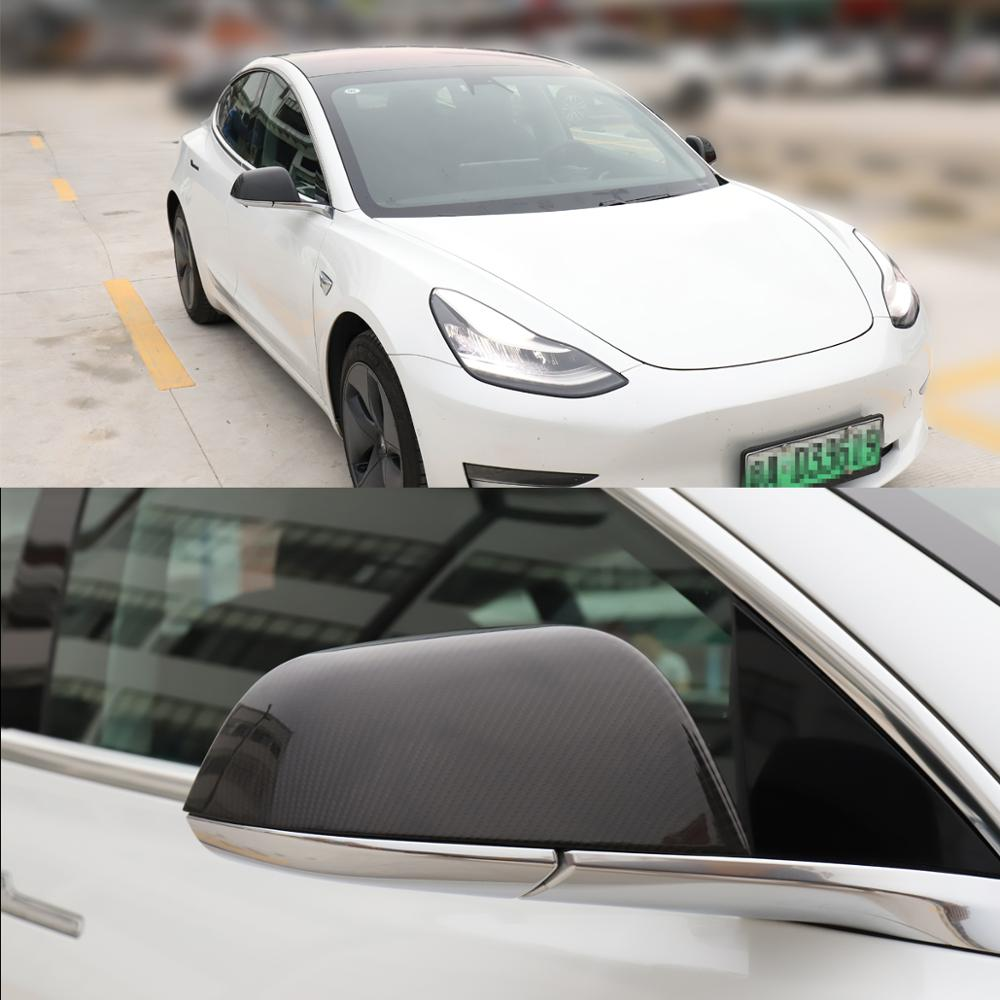 LUCKEASY автомобильные зеркальные чехлы из углеродного волокна для 2017 2019 Tesla модель 3 боковое зеркало крышка 3 к 240 г углеродное волокно x2 - 5
