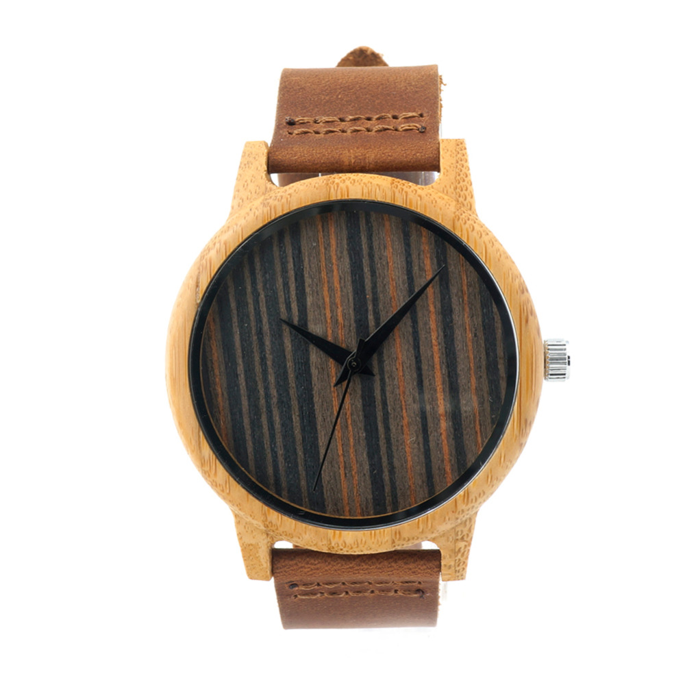 2016 Men's Bamboo Wooden Wristwatches With Genuine Cowhide Leather Band Luxury Wood Watches for Men as Gifts Item fashion new antique genuine cowhide leather band lovers luxury watches zebra wood bamboo wristwatch for women as best gifts