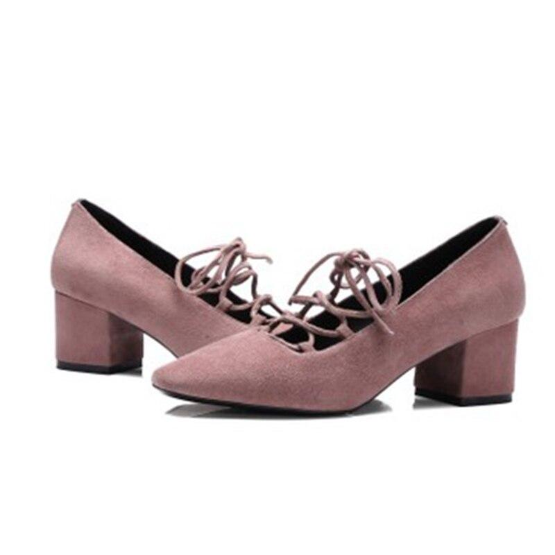 En Printemps Nouveau Femmes rose Profonde Chaussures Bouche Avec Carrée 2019 Simples Mouton Épais Noir Haut Cuir Peu Strap Croix Tête Talon da5PURUqW