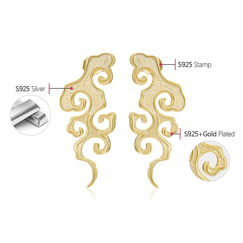 Lotus Fun Real 925 Sterling Silver Fine Jewelry Original Sunset Cloud Dangle Earrings Chinese Style Vintage Earrings for Women