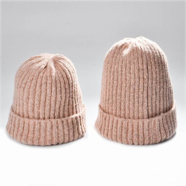 1 Set Fashion Solid Knitted Wool Beanies Caps For Baby And Mom Korean Style Winter Autumn Thick Warm Hats Earmuff