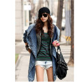 New Fashion 2017 Women Jeans Coat Hat-style Turn-down Collar With Sashes Vintage Denim Trench Coats