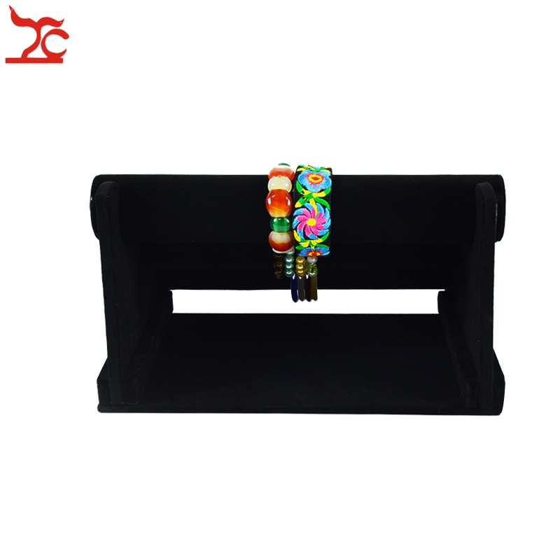Wholesale Portable Jewelry Display Rack Black Velvet Three-Tier T Bar Bracelet Bangle Watch Jewelry Organizer Storage Stand