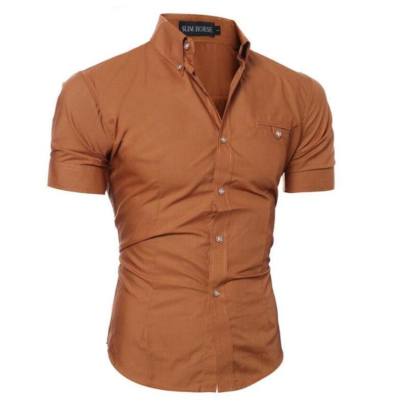 Men Shirt Luxury Brand 2018 Male Short Sleeve Shirts Casual Metal Buckle Hit Color Slim Fit Black Dress Shirts Mens Hawaiian 3XL
