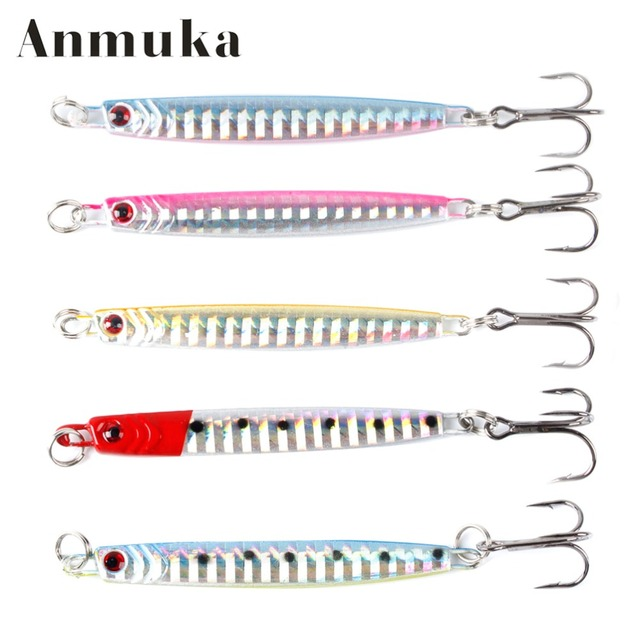 Anmuka 7cm 14g 5Colors Jig Lead Bionic Lure With Treble Hooks lures Fishing Supplies Metal Baits Artificial Lure Fishing Tackle