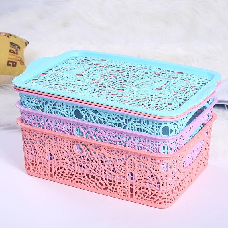 Creative Plastic Fashion With Lid Storage Basket Organizer ...