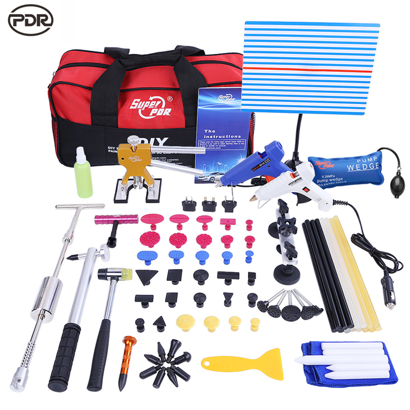 PDR Tools Kit Paintless Dent Repair Tools Dent Removal White Reflector Board Dent Puller Slide Hammer Dent Lifter Glue Tools