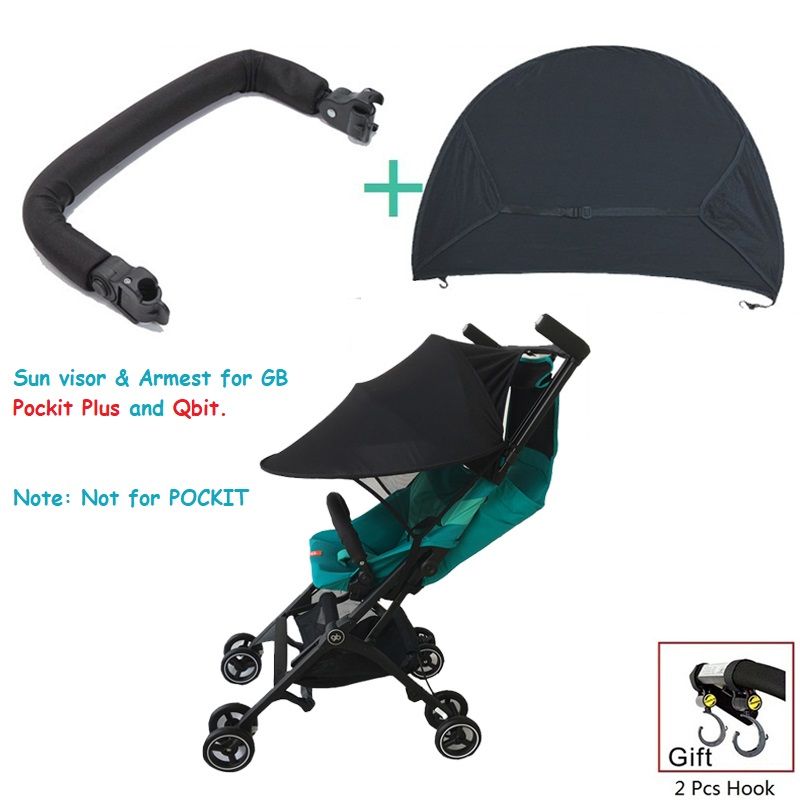 1:1 GB Pockit Plus Stroller Accessories Armrest Handrail & Sun Shade & Hook For Goodbaby Pockit + Stroller GB QBIT Stroller(China)