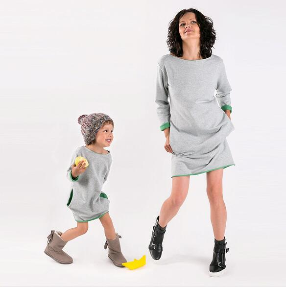 Outfits Sweatshirts Dress Long-Sleeve Family-Look Daughter Casual Mom And Me Autumn