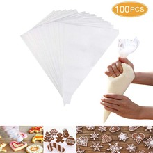 100Pcs Disposable Cream Pastry Bag Cake Icing Piping Decorating Tool Cupcake