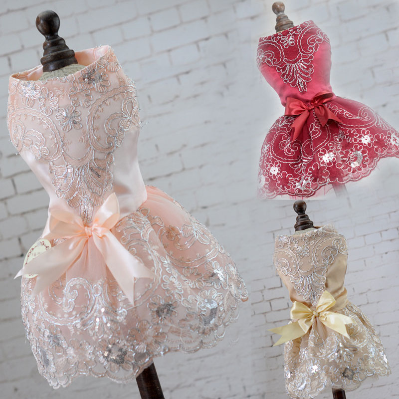 2018 Hot Sale Fashion Spring Summer Pet Dresses for Dogs Bow Tie Decorate Evening Dress Cute Dog Dresses for Cat Small Dog XS-XL