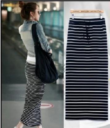 Popular Long Black and White Striped Skirt-Buy Cheap Long Black ...