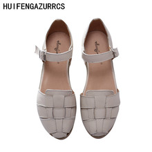 HUIFENGAZURRCS-Genuine Leather Sandals,handmade white shoes,the retro art mori girl Flats shoes,Retro classic shoes,2 colors