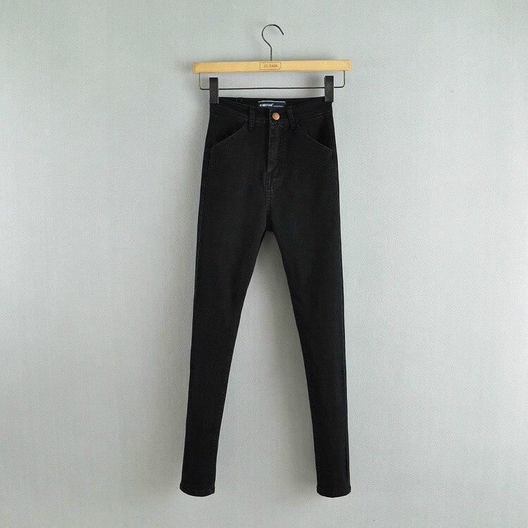 Jaro a podzim Nové ženy Móda Vysoký pas Slim Dlouhé džíny, - Dámské oblečení