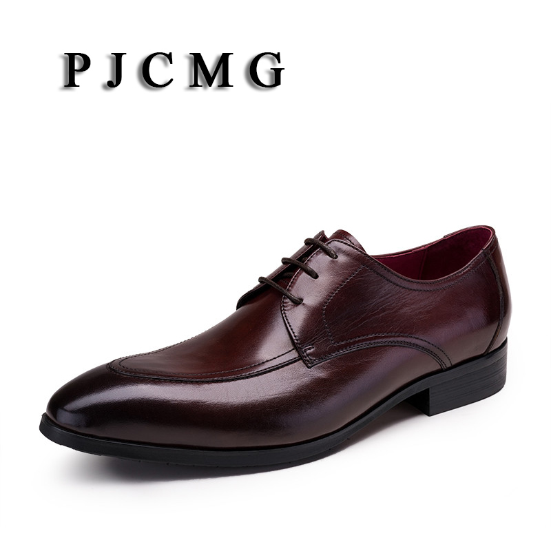 PJCMG Fashion New Black /Red Oxfords Formal Dress Lace-Up Pointed Toe Genuine Leather Business Man Wedding Shoes pjcmg fashion high quality wine red black formal oxfords business genuine leather lace up dress breathable mens wedding shoes