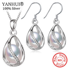 YANHUI Natural Pearl Jewelry Sets 925 Sterling Silver Water Drop Earrings Necklace Sets for Women Bridal Wedding Jewelry SE0110(China)