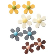 Fashion Women Charm Wood Chip Petals Earrings Wild Retro Flowers Shape Jewelry